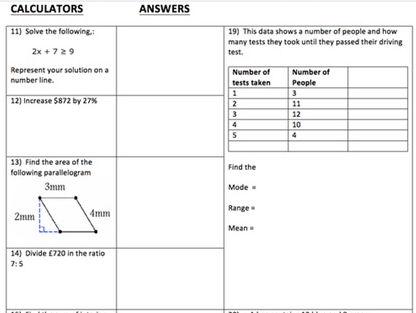 foundation gcse maths revision sheets by brabanski teaching resources. Black Bedroom Furniture Sets. Home Design Ideas