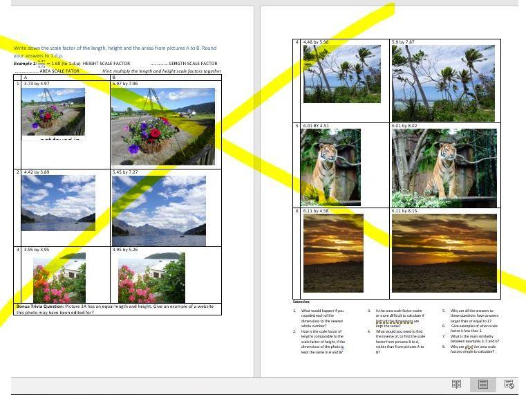 SCALE FACTOR / PROPORTION worksheet involving interesting PHOTOGRAPHS