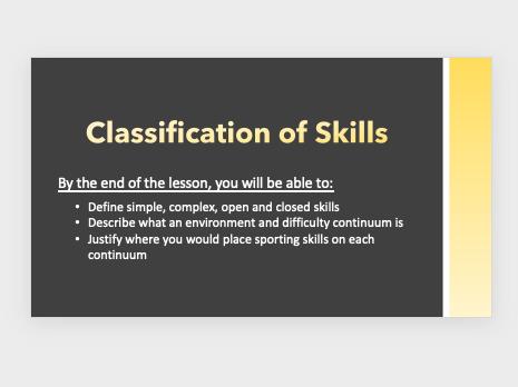 GCSE PE - Classification of Skills