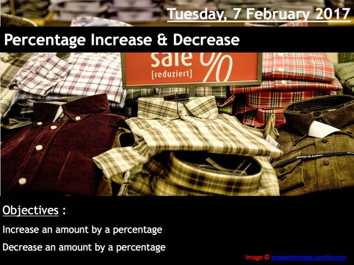 ProjectALesson: Percentage Increase & Decrease