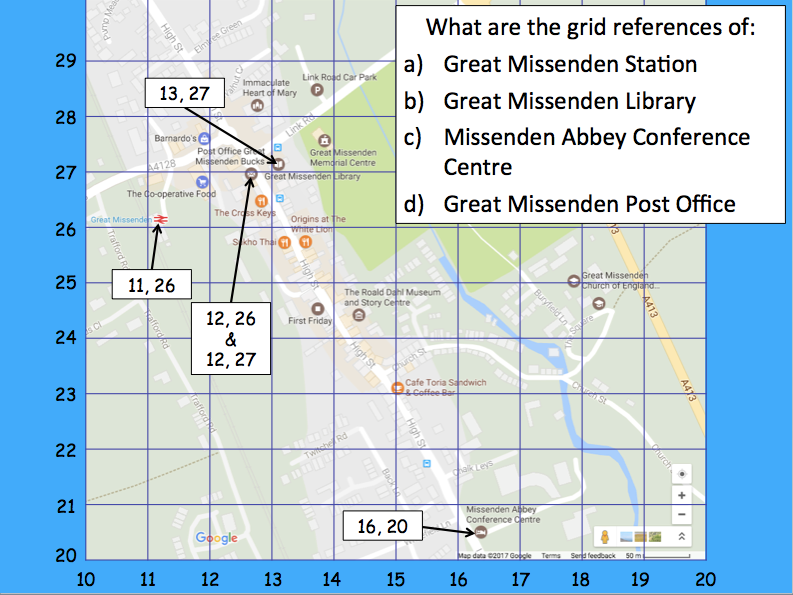 A Contrasting UK Locality - Locating features of Great Missenden using grid references