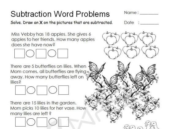 Subtraction Word Problems with Pictures