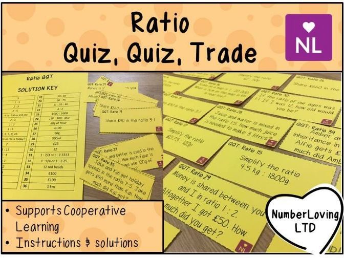 Ratio Simplifying and Sharing Quiz Quiz Trade Cards