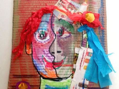 Pablo Picasso Cubism Recycled Collage Self Portrait