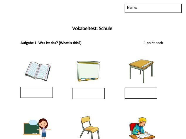 Vocabulary Test Topic School