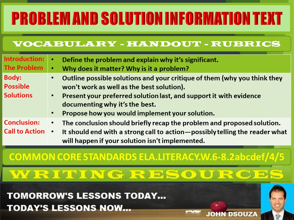 PROBLEM AND SOLUTION INFORMATION TEXT HANDOUTS