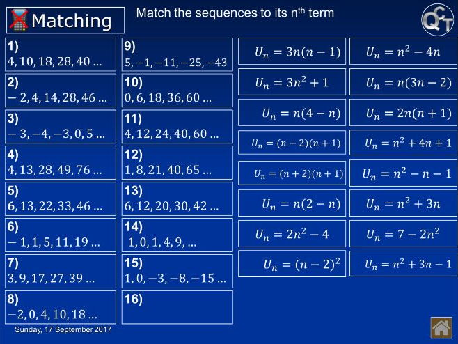 H Quadratic, Fibonacci & other sequences