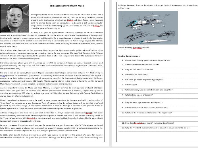 Elon Musk's success story - Reading Comprehension Worksheet/Vocabulary Worksheet