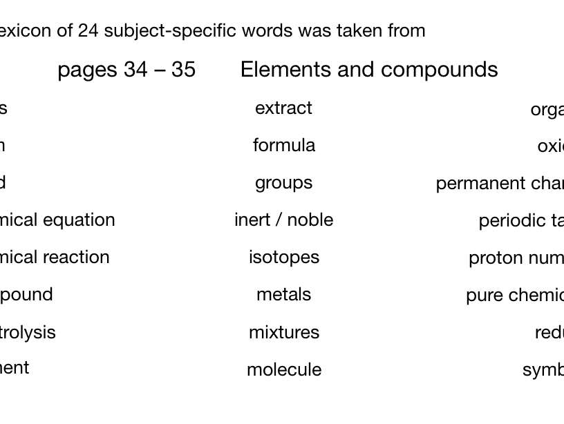 Word models for elements and compounds (CGP pp34-35)