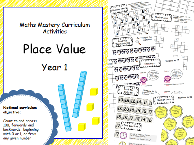 Place Value mastery materials - Year 1 - counting forwards and backwards to 100