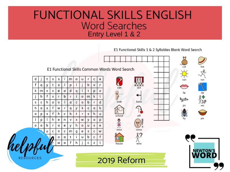 Functional Skills English Word Searches E1 & E2