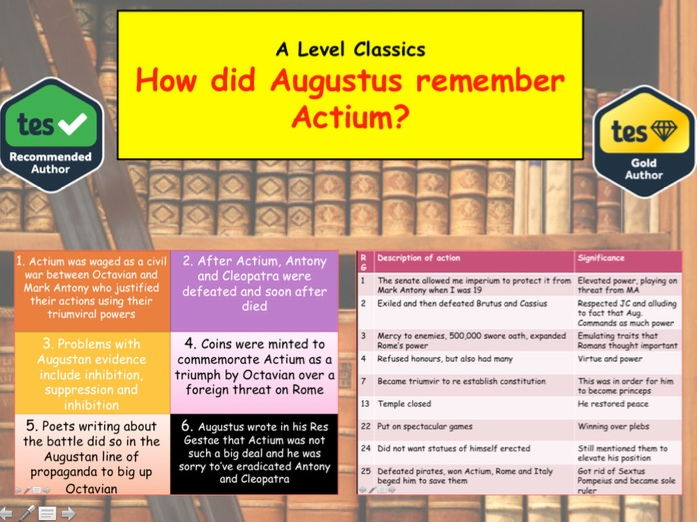 How did Augustus remember Actium and Recap of Actium - A Level Classics
