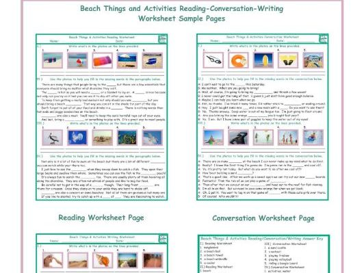 Beach Things-Activities Reading-Conversation-Writing Worksheets