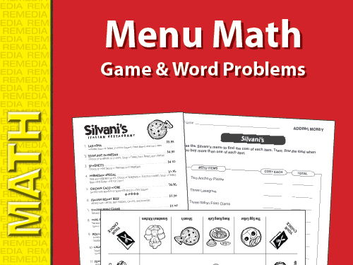 Menu Math Game & Word Problems