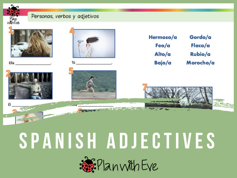 Spanish Adjectives for Beginners + Game!!! Fillable or printable PDFs and images!