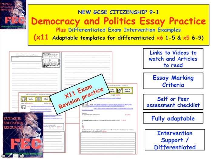 Essay practice and Exam practice for GCSE Citizenship - Politics elements