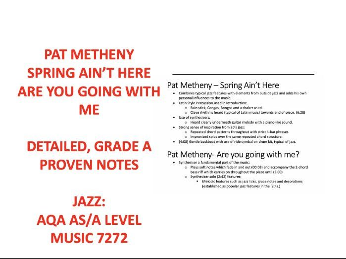 Pat Metheny AS Level Music Notes AQA 7272