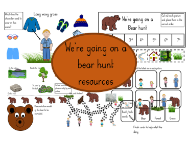 Selection of, We're Going On A Bear Hunt, resources.
