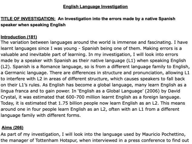 AQA A-Level English Language NEA: Model Investigation