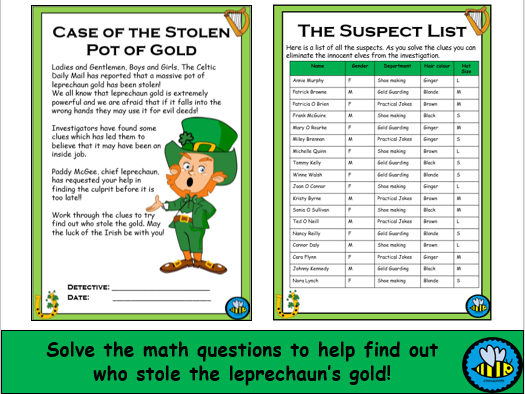 St Patrick's Day Math Mystery