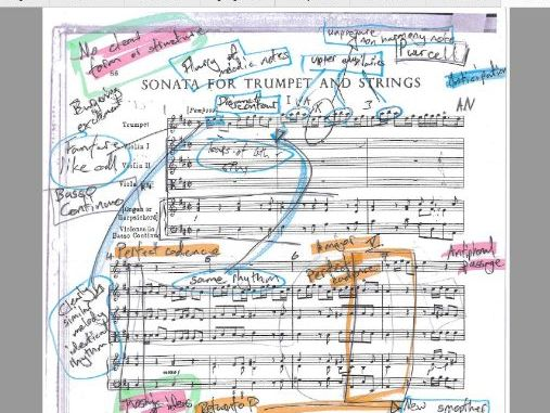 Purcell Sonata for Trumpet and Strings - Annotated