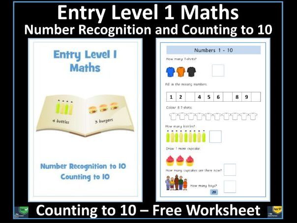 Entry Level 1 Maths Counting To 10 Free Worksheet Sen Resource By