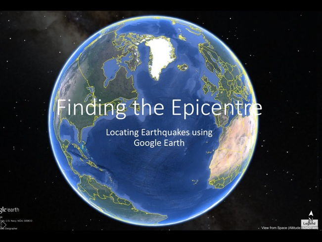 Finding the epicentre of an earthquake - instructions on how to use Google Earth - triangulation