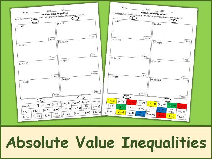 Absolute Value Inequalities Color Mosaic