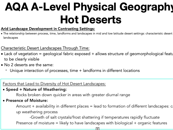 AQA A Level Geography: Hot Deserts - Arid Landscape Development in Contrasting Settings