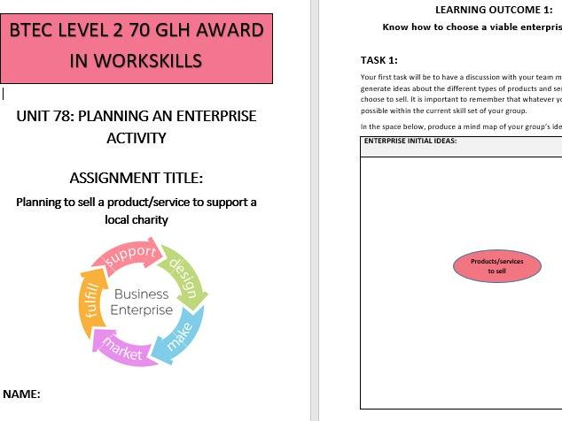 BTEC L2 Workskills Unit 78 Planning an Enterprise Activity - Assignment brief and workbook