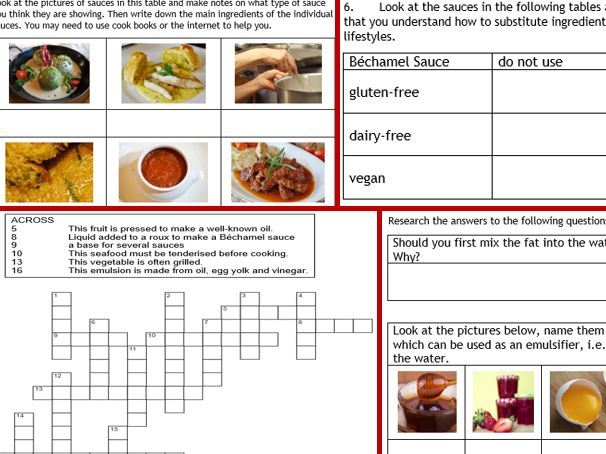 NEW GCSE Food Technology 5: Food Prep skills 7-page wkbk, research for revision... +cue cards