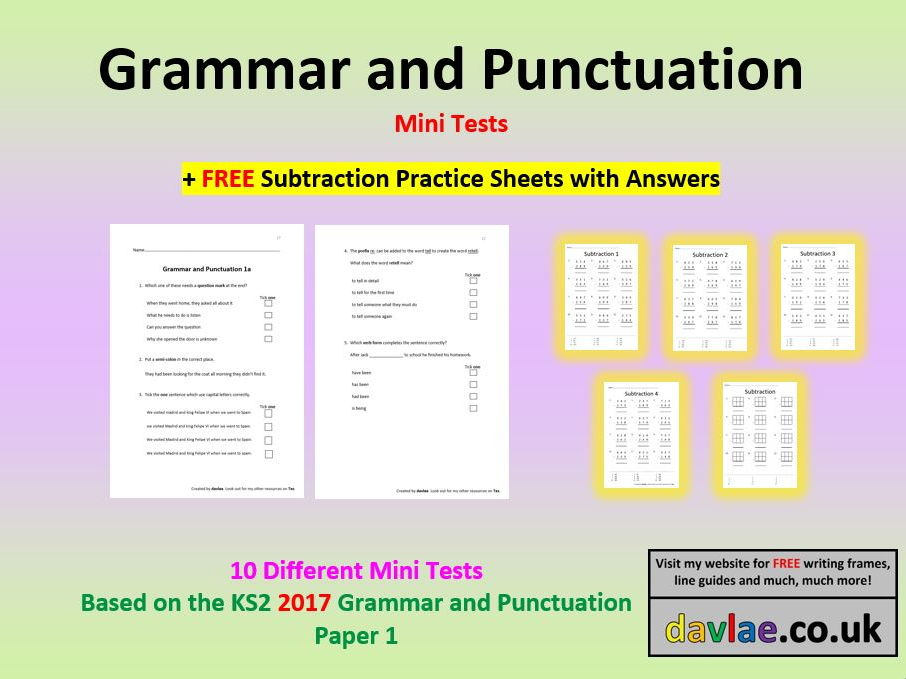 Grammar and Punctuation Mini-Tests (+ FREE SUBTRACTION PRACTICE SHEETS WITH ANSWERS)