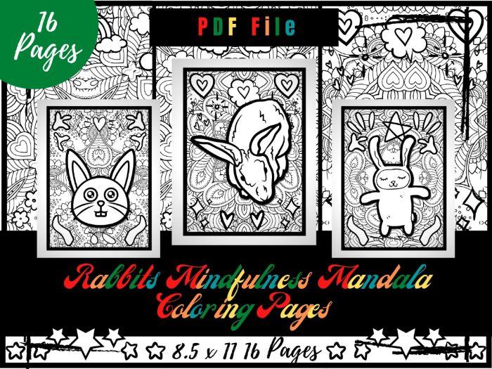 Rabbits Mindfulness Mandala Coloring Pages, Animals Coloring Printable Sheets