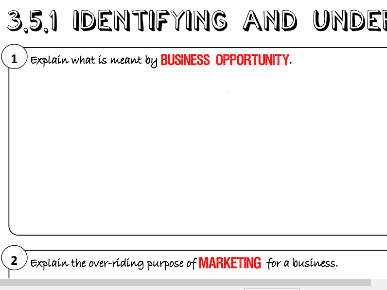 AQA GCSE Business (9-1) 3.5.1 Identifying and Understanding Customers Learning Mat / Revision
