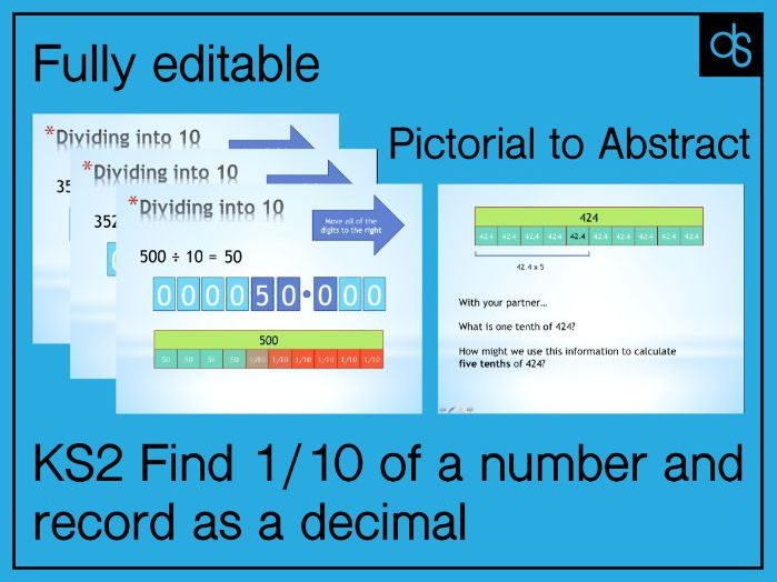 Investigate one tenth 1/10 of a number and write it as a decimal