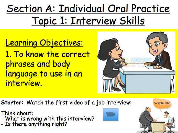Lesson 1 & 2: Interview Skills (Primary TEFL / ELTA)