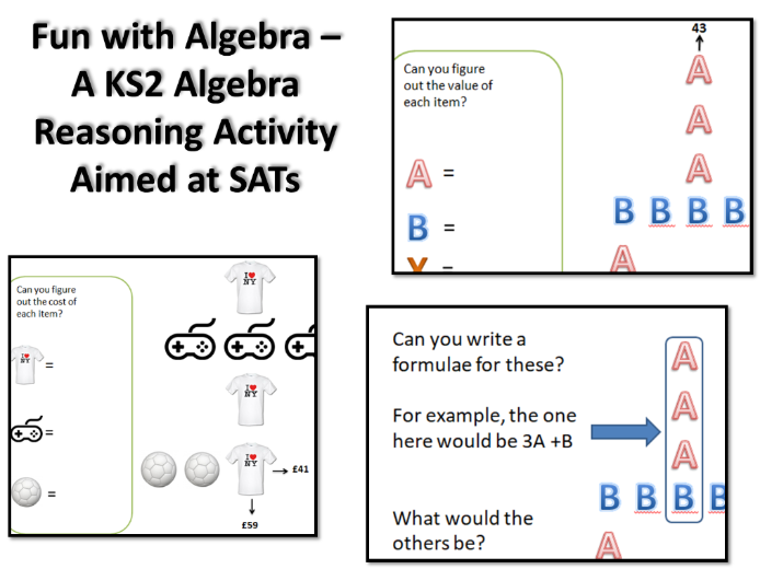 Fun with Algebra – A KS2 Algebra Reasoning Activity Aimed at SATs