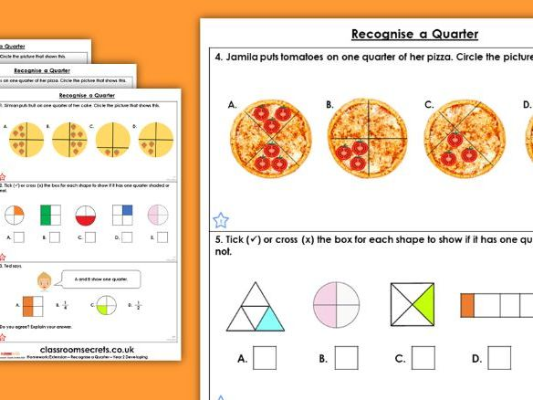 Year 2 Recognise a Quarter Spring Block 4 Maths Homework Extension