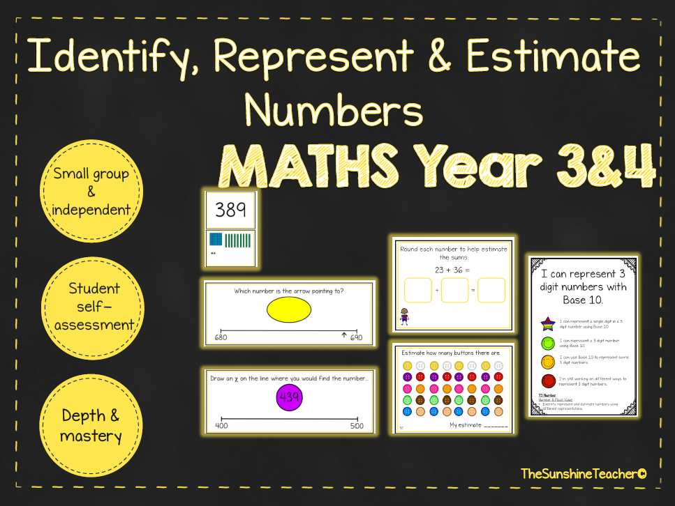Identify, Represent & Estimate Numbers - Year 3&4 - Math - Place Value - 5 NO PREP Resources Bundle