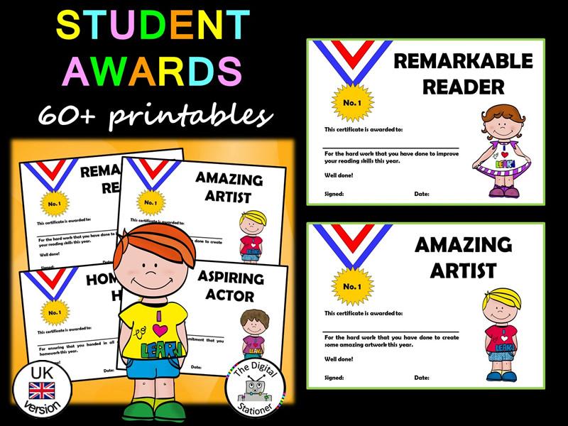 Student Awards/End of Year Awards (UK version) – 60 printable Awards