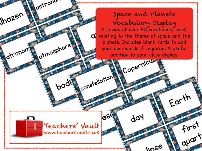 Space and Planets Vocabulary Display