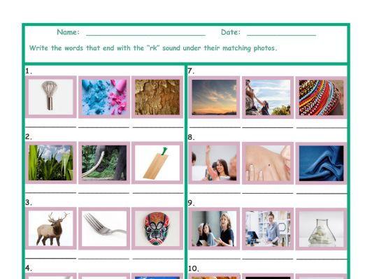 Phonics Final Consonant Cluster RK Photo Worksheet