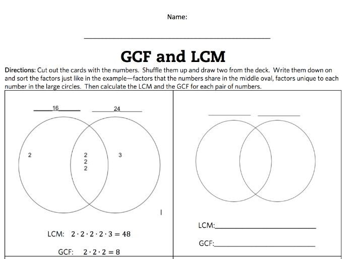 lcm and gcf venn diagram activity and game by flippyfeets