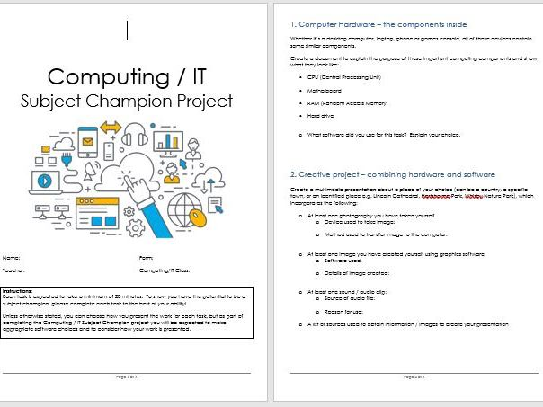 KS3 Computing IT Computer Science Project Booklet / Distance Learning / Homework Tasks