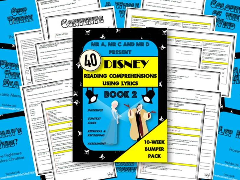 40 Disney Lyric Reading Comprehensions Book 2 - Mr A, Mr C and Mr D Present