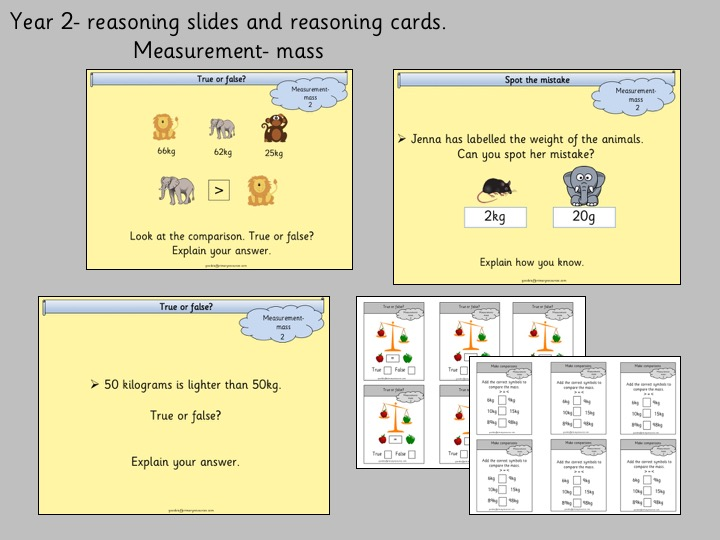 Reasoning slides and cards Year 2- measurement mass