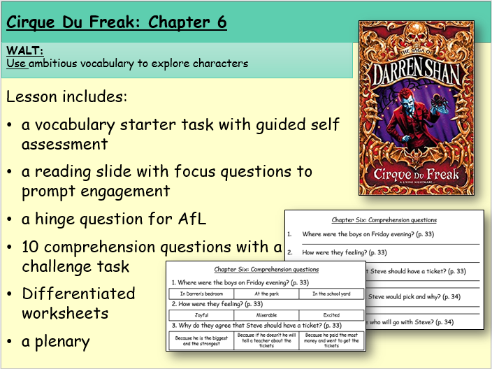 Cirque du Freak: Chapter Six (Reading and Comprehension)