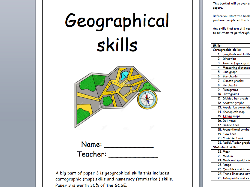 Geographical and numerical skills booklet with AQA practice questions