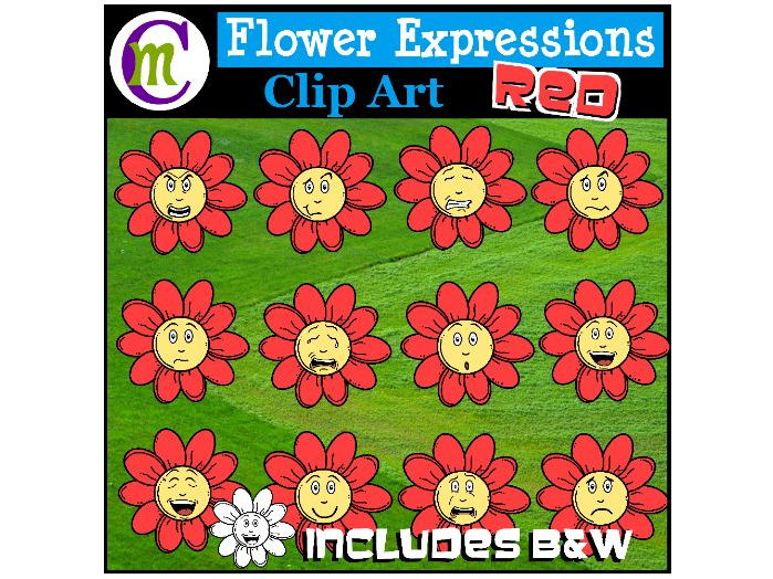 Flower Emotions Clipart | Red Flowers Clip Art