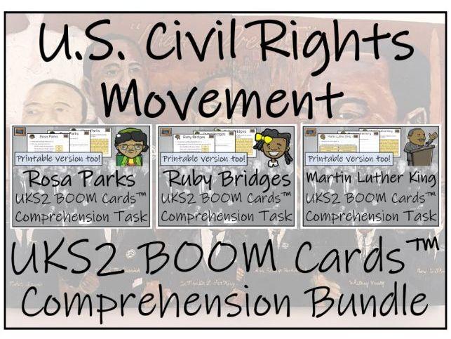 UKS2 Civil Rights Movement BOOM Cards™ Comprehension Activity Bundle